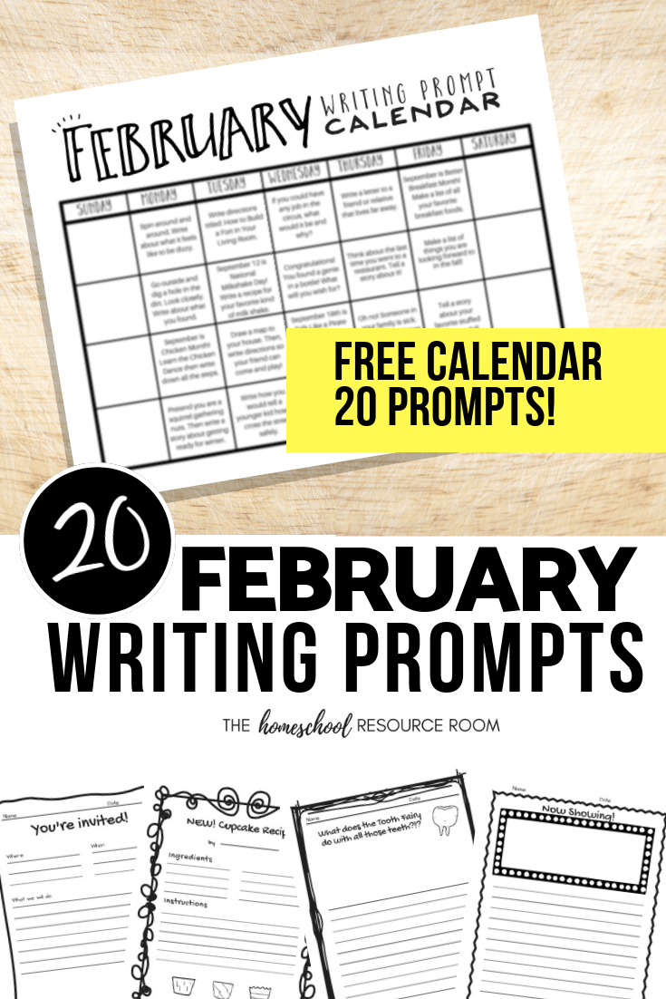 February Writing Prompts: FREE February Writing Prompt Calendar!